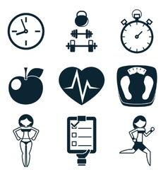 Sport Fitness and Health isolated icons set vector image