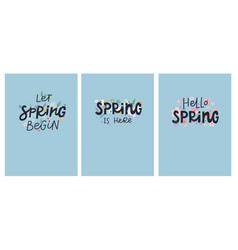 Spring is here lettering flowers card vector