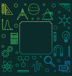 Stem education green square frame in thin vector