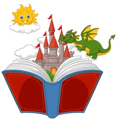 Story book with castle dragon and sun vector image