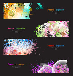 Streaks and explosion banner set vector