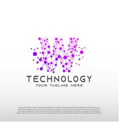 Technology logo with initial w letter network vector