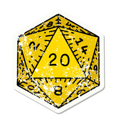 traditional distressed sticker tattoo a d20 vector image