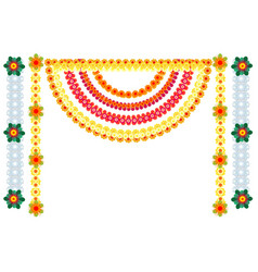 Traditional indian flower garlands decoration for vector