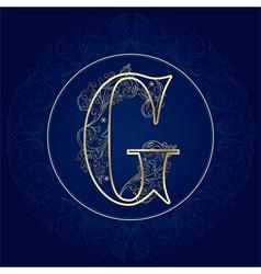 Vintage floral alphabet letter G vector image