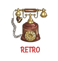 Vintage rotary dial telephone colored sketch vector image