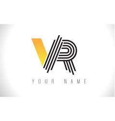 Vr black lines letter logo creative line letters vector