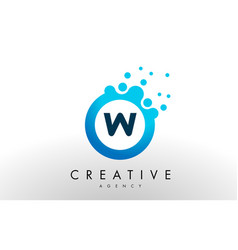 W letter logo blue dots bubble design vector