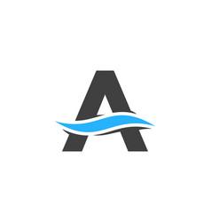 Wave letter a logo icon design vector