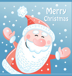 winter card with santa claus vector image
