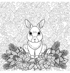 Winter coloring page with rabbit vector