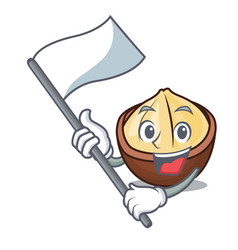 With flag macadamia mascot cartoon style vector