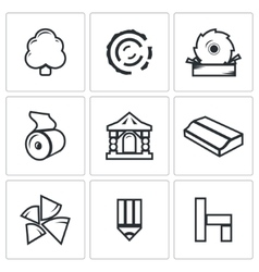 Wood products industry icons set vector image