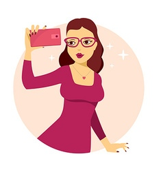 Young girl in red dress makes selfie phot vector