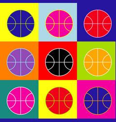 basketball ball sign pop-art vector image vector image