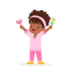 cute little african girl character feeling happy vector image