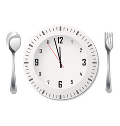 cutlery with clock vector image vector image