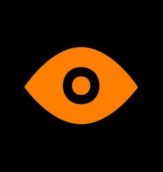 eye sign orange icon on black vector image