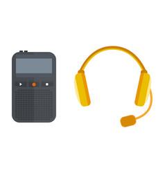 headphones icon isolated microphone vector image