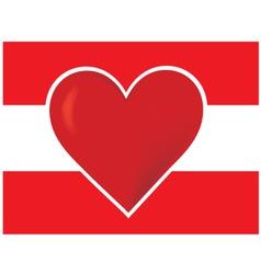 heart austria flagred heart vector image vector image