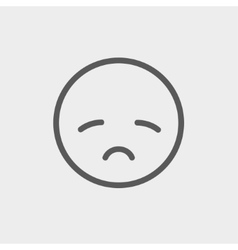 Sad face thin line icon vector image