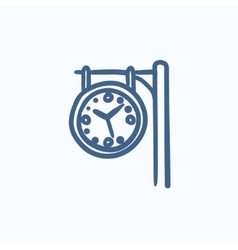 Train station clock sketch icon vector image vector image