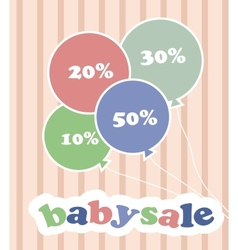 Trendy colorful baloons with discounts for baby vector image