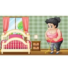 A sad fat lady inside her bedroom vector image vector image