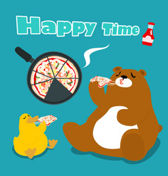 bear amp duck eat pizza cartoon vector image vector image