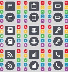 Calendar Survey Battery Notebook Silk hat Key RSS vector image