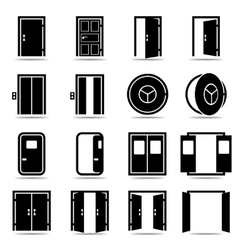 Open and closed doors icons set vector