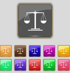 scales Icon sign Set with eleven colored buttons vector image