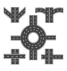 Set of different road sections with roundabouts vector image vector image