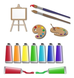 artists supplies icons vector image