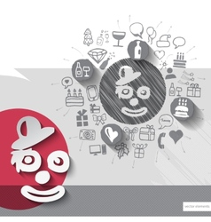 Hand drawn clown icons with icons background vector image vector image