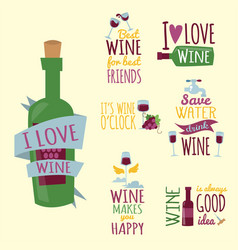 hand drawn natural badges and labels for wine vector image vector image