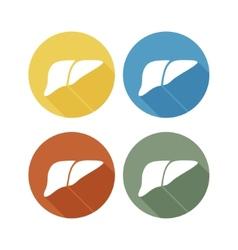 Human liver icon logo flat long shadow vector image vector image