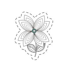 Lily flower decoration cut line vector