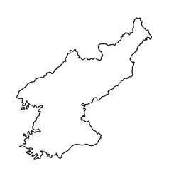 north korea map of black contour curves on white vector image vector image