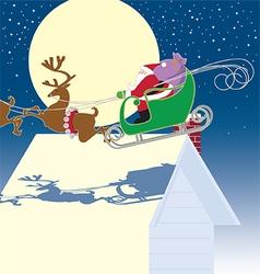 Santa in sled vector image vector image