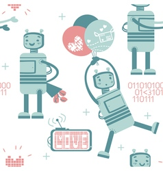 Seamless pattern with cute love robot in gentle co vector image vector image