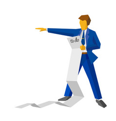 businessman holding a very long to-do list vector image