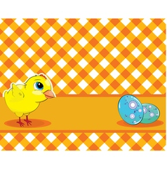 Chicken and painted eggs on a checkered background vector
