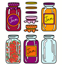 isolated jars set in retro style vector image vector image