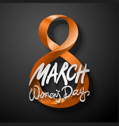 orange march 8 greeting card international womans vector image