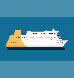 passenger liner isolated on blue background vector image