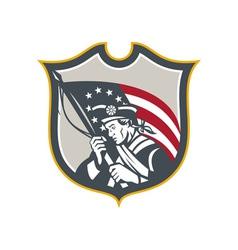 Patriot Holding American Flag Shield Retro vector image