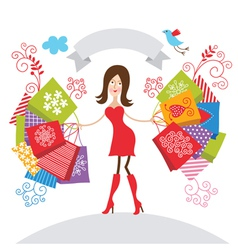 young girl with purchases vector image