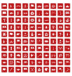 100 national flag icons set grunge red vector image