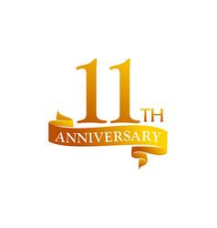 11 year ribbon anniversary vector